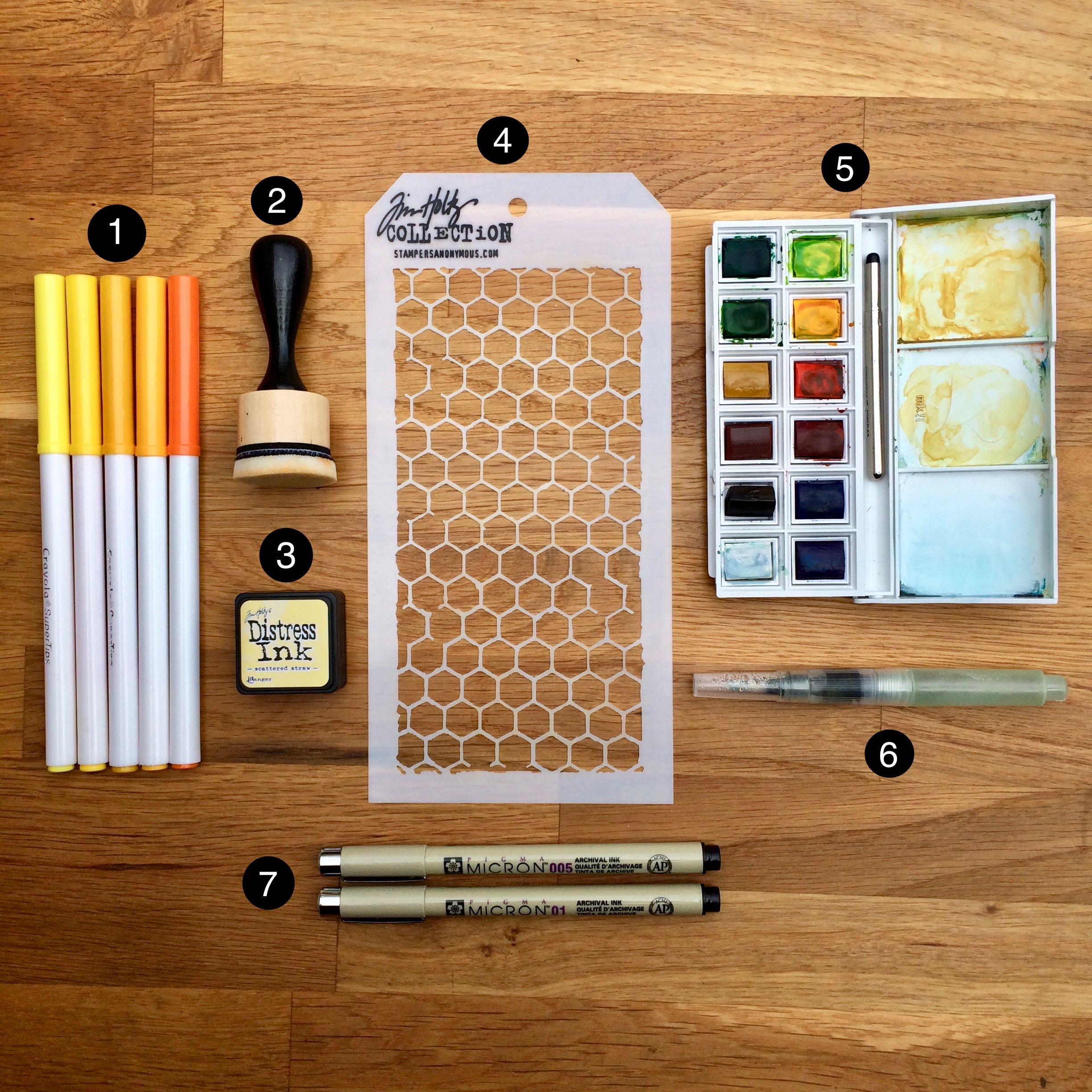 Bee Drawing Tutorial + How I Used the Tim Holtz Honeycomb Stencil